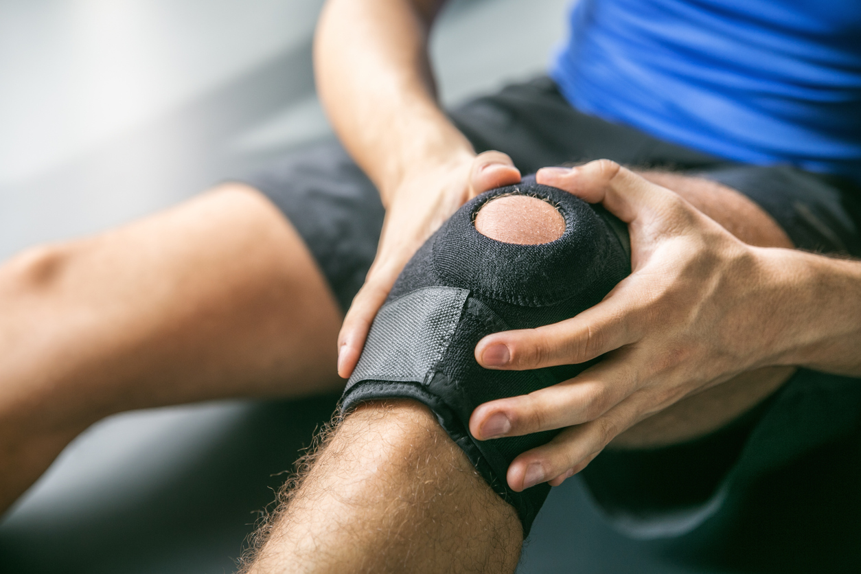 Joint pain, knee-joint, man, background